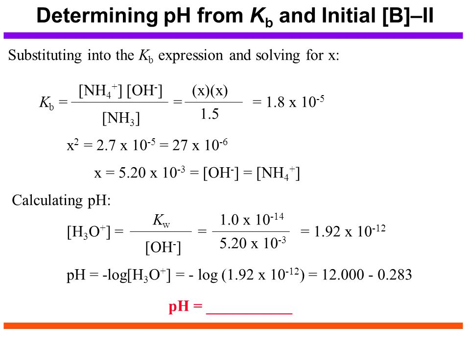 Determining pH from Kb and Initial [B]–II